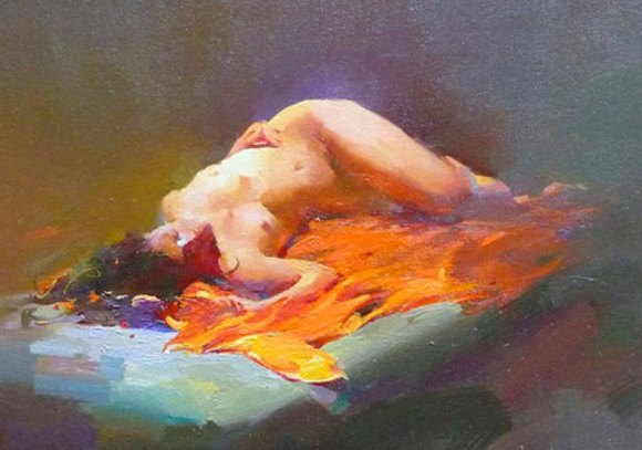 Mujer Desnuda Durmiendo, Óleo sobre lienzo, Henry Yan